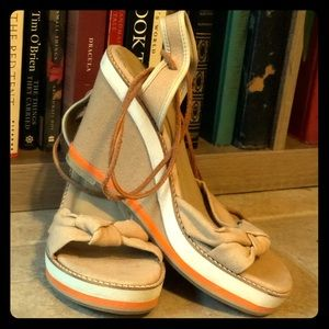 Never worn GB lace up wedge sandals